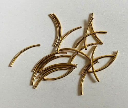 20 x Gold Plated Curved Tube Beads 1.2mm x 20mm