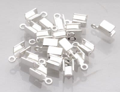 20 x Silver Plated Large Folding Cord Ends Folding Crimps