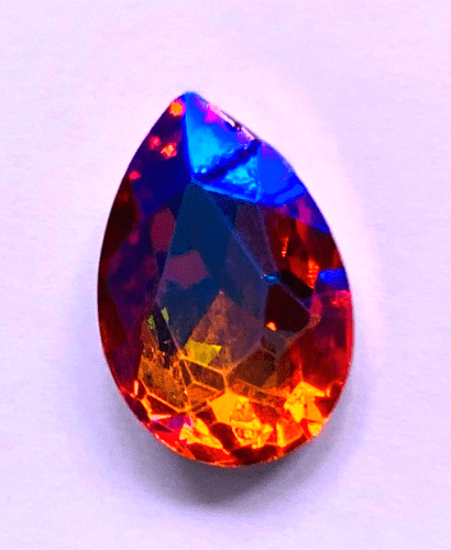 30mm x 40mm Crystal Cabochon Teardrop Coral iridescent