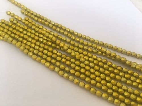 40 x 4mm Fire Polished Round beads Colour Zest