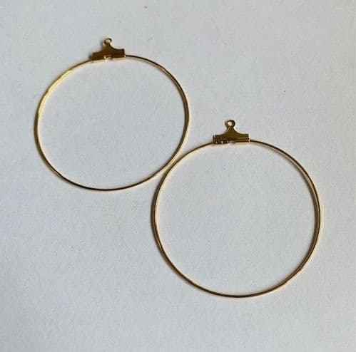 5 pairs 30mm beadable gold plated hoops