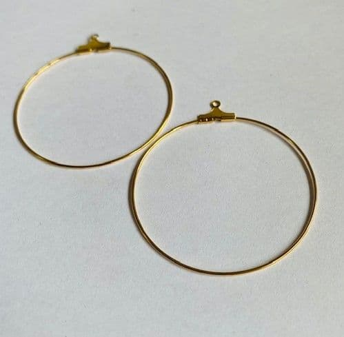 5 pairs 40mm beadable gold plated hoops