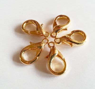 5 x Gold Plated 19mm Large Trigger Clasp