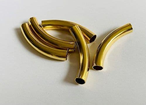 5 x Gold Plated Curved Tube Beads 5mm x 30mm