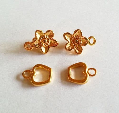 50% off 2 x Gold Plated Flower Clasp clip  8mm approx.