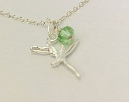 Ballerina Birthstone pendant August Sterling Silver chain 16""