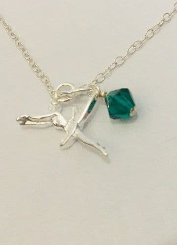 Ballerina Birthstone pendant MAY Sterling Silver chain 16""