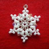 Beadwork White Snowflake Necklace / Christmas Decoration Kit