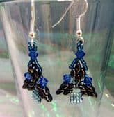 Christmas Tree Earring Kit with SWAROVSKI® ELEMENTS Gunmetal/Blue