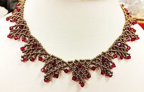 Crystal Laced Necklace - Beadwork Necklace Kit with SWAROVSKI® Crystal Xilions (Bronze and Ruby)