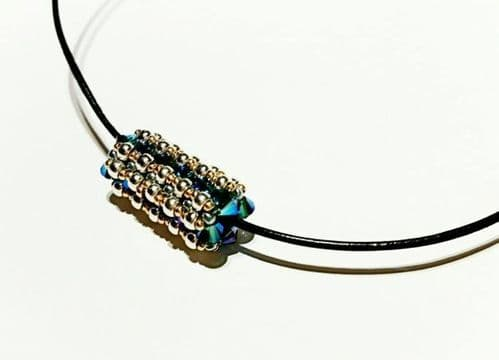 Crystal Tube Beadwork Necklace Jewellery Kit with SWAROVSKI® ELEMENTS Silver/Blue/Gold