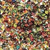 Czech 2 Hole Superduo Beads, 2.5 x 5mm Glass Beads,  Crystal Magic Red Yellow