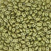 Czech 2 Hole Superduo Beads, 2.5 x 5mm Glass Beads, Pastel Lime