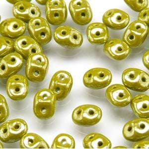 Czech Superduo Beads, 2.5 x 5mm Glass Beads, Opaque Green White Luster , for jewellery making