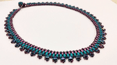 Egyptian Collar - Beadwork Necklace Kit with Kheops Par Puca and SuperDuo Beads (Blue/Burgundy)