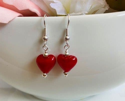 Handmade Foil Lined Heart Earrings Silver Plated Red
