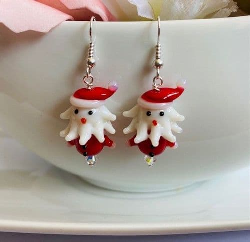 Handmade Lampwork Glass Father Christmas Earrings Silver Plated