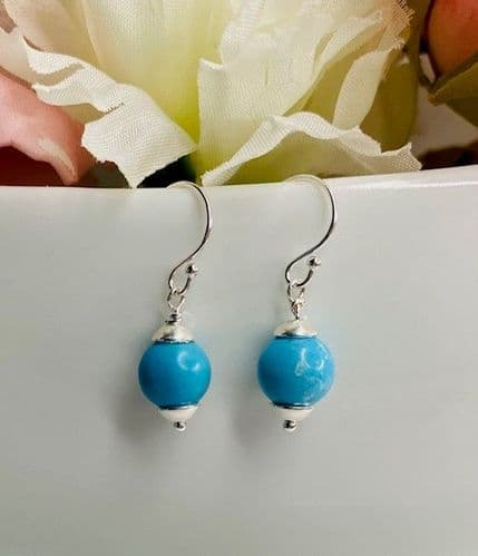 Handmade Sterling Silver Drop Earrings with Turquoise Howlite Bead