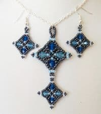Harlequin Necklace & Earrings Jewellery Kit with SWAROVSKI Blue Tones