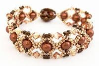 Lattice Crystal/Pearl Bracelet with SWAROVSKI, Beading Kit - Bronze/Gold Tones