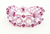 Lattice Crystal/Pearl Bracelet with SWAROVSKI, Beading Kit - Lilac/Fuchsia Tones