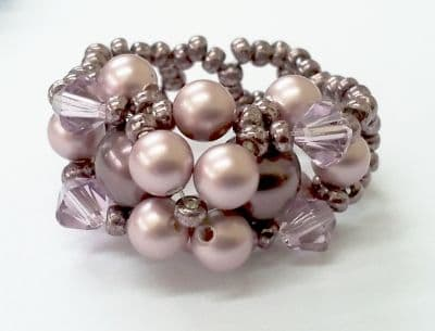 Magical Mauve Crystal & Pearl Beadwork Ring Kit with SWAROVSKI® ELEMENTS