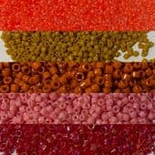 Miyuki Delica Beads Size 11  & Seed beads Size 15 Fire collection