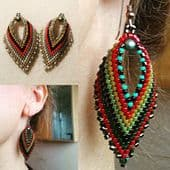 Russian Leaf Earring Beadwork Kit with MIYUKI Delicas - Olive/Bronze/Red