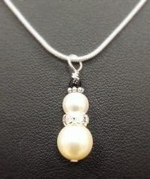 """Snowman Pendant Necklace Kit includes 18"""" Snake Chain with SWAROVSKI® ELEMENTS"""