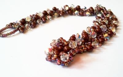 St Peterburg Double Chain Bracelet Kit, Jewellery Making Kit with SWAROVSKI® ELEMENTS beads Bordeaux Red and Crystal