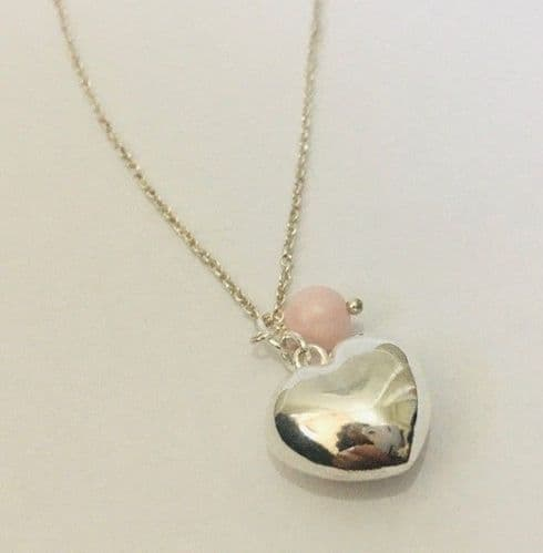 Sterling Silver Puff Heart 16mm with  pale pink Swarovski Pearl