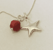 """Sterling Silver Star pendant with Swarovski Crystal Sterling Silver chain 18"""""""