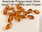 Swarovski 12mm Polygon Bead Copper