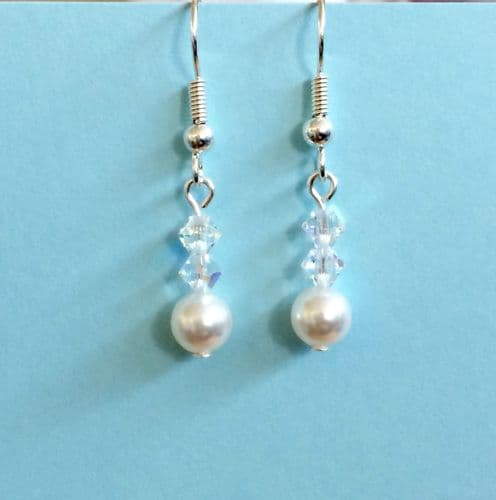 Swarovski Elements Drop Earrings Silver plated, Bead Jewellery Making Kit White pearls and Crystal AB