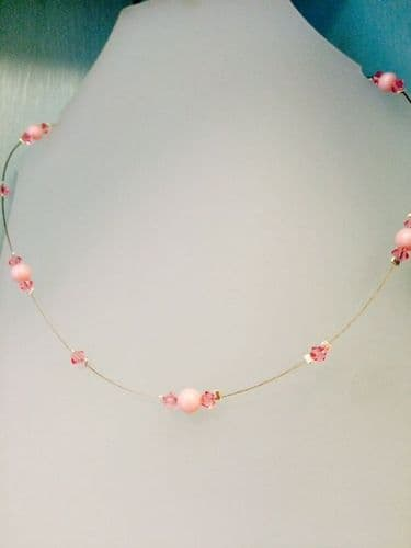 Swarovski Elements Floating Crystal and Pearl Necklace, Bead Jewellery Making Kit Pink Tones