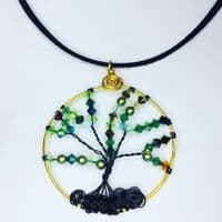 Tree of Life Wire Pendant Kit - Green Tones/Gold frame