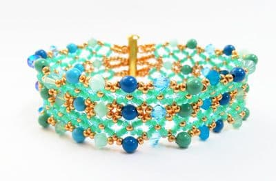 Two Row, Crystal and Pearl Bracelet Jewellery Kit with SWAROVSKI Turquoise Sea tones