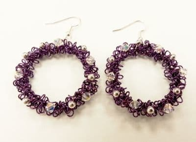 Wirework Christmas Wreath Earrings Kit with SWAROVSKI Purple and silver