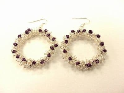 Wirework Christmas Wreath Earrings Kit with SWAROVSKI Silver and Purple