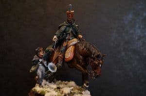 SALE - Mounted French Hussar Officer and Drummer Boy