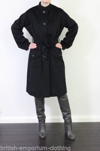 Aquascutum Black Belted SUPERSOFT Wool Coat Uk10-Ita42-Usa6 Made in Italy *BNWT*
