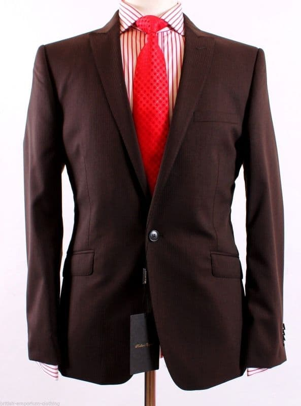 HOLLAND ESQUIRE Brown Self Stripe Suit + H.Esq FREE SUIT CARRIER Uk40 BNWT