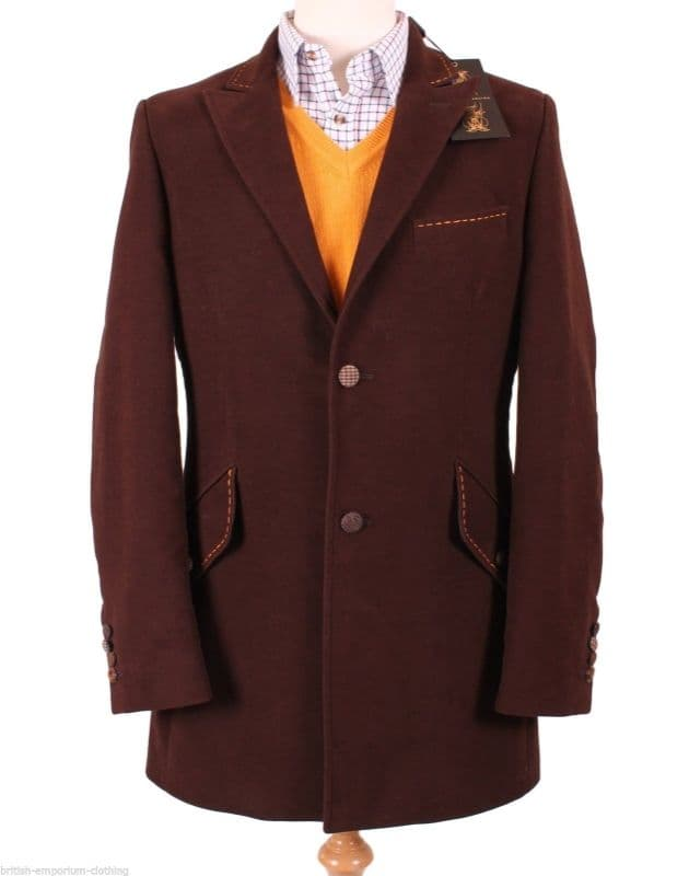 HOLLAND ESQUIRE  HAND CUSTOMISED Brown MOLESKIN Car Coat Jacket Uk40* BNWT*