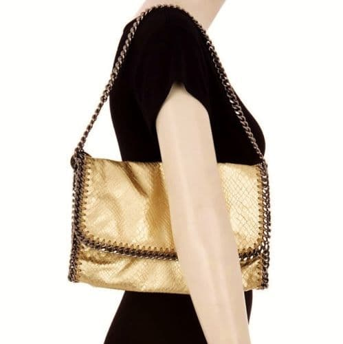 STELLA McCARTNEY Large Gold Metallic Snakeskin Chain Clutch Shoulder Bag BNWT