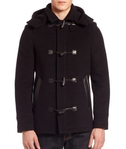 THE KOOPLES Black Military Soft Wool & Leather Duffle Coat UK42 US42 EU52 IT52