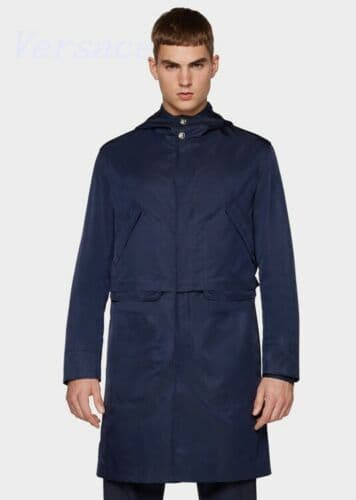VERSACE Navy Showerproof Nylon Hooded Rain Trench Coat NEW UK40 IT50 NEW TAGS