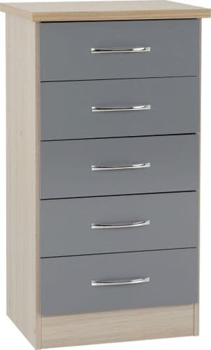 Blanca Slim Chest of Drawers Grey
