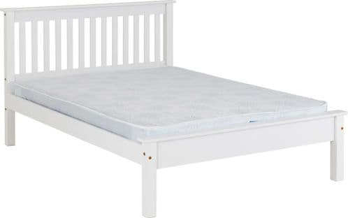 Doyle Double Bed White Low