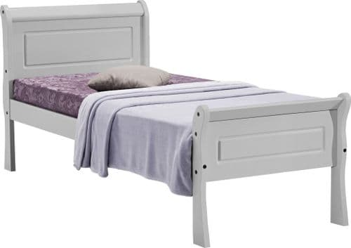 Corela Single Grey Sleigh Bed