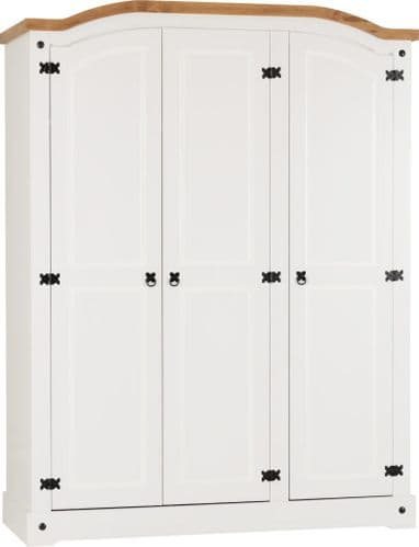 Corin 3 Door Wardrobe, White